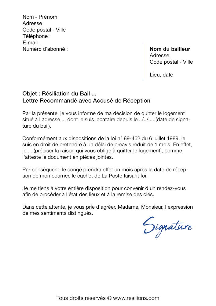 Lettre De Resiliation Bail 1 Mois De Preavis Modele Pdf Et Word