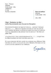 lettre de résiliation bail appartement maison