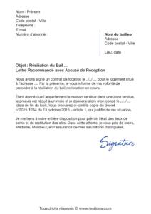 lettre de résiliation bail 1 mois de préavis zone tendue