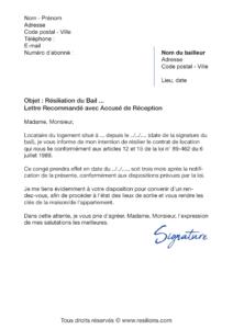lettre de résiliation résiliation bail 3 mois de préavis