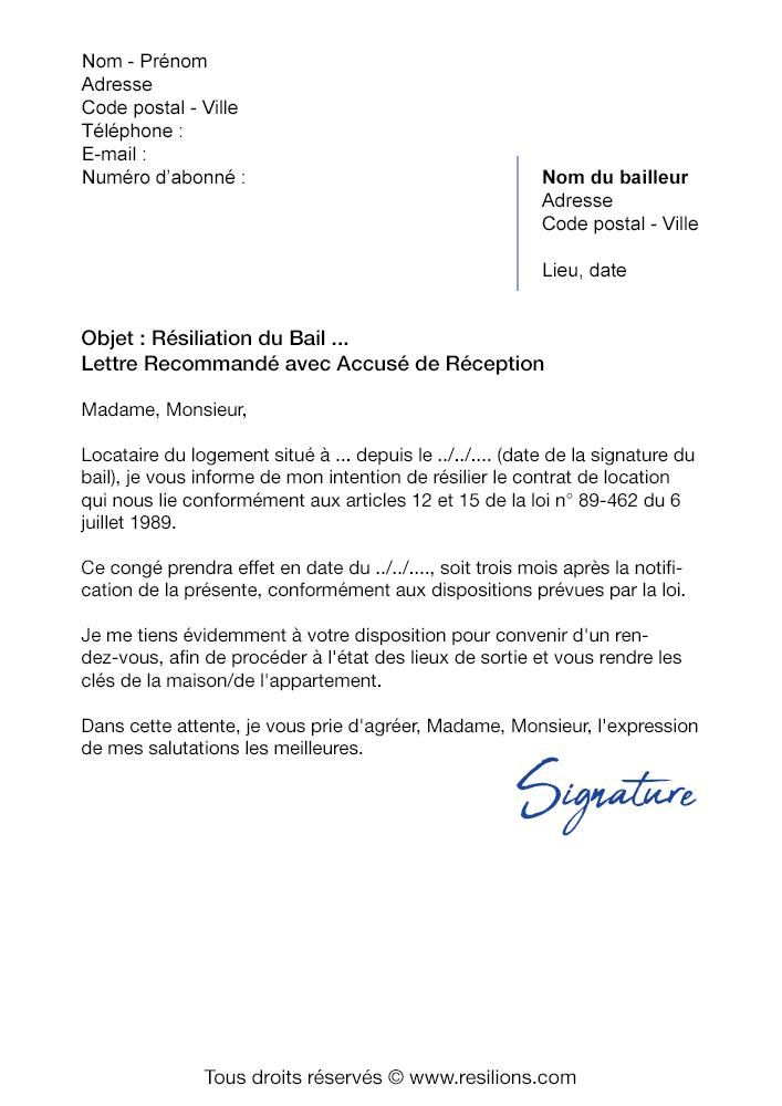 Résilier le Bail d'un Logement - Modèles de lettre de résiliation