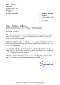 lettre de résiliation résiliation bail 6 mois de préavis