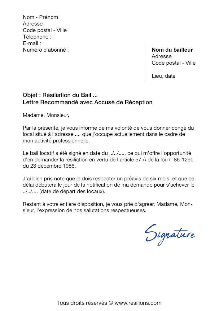 Lettre De Resiliation Bail 6 Mois De Preavis Modele Pdf Et Word