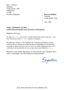 lettre de résiliation bail commercial