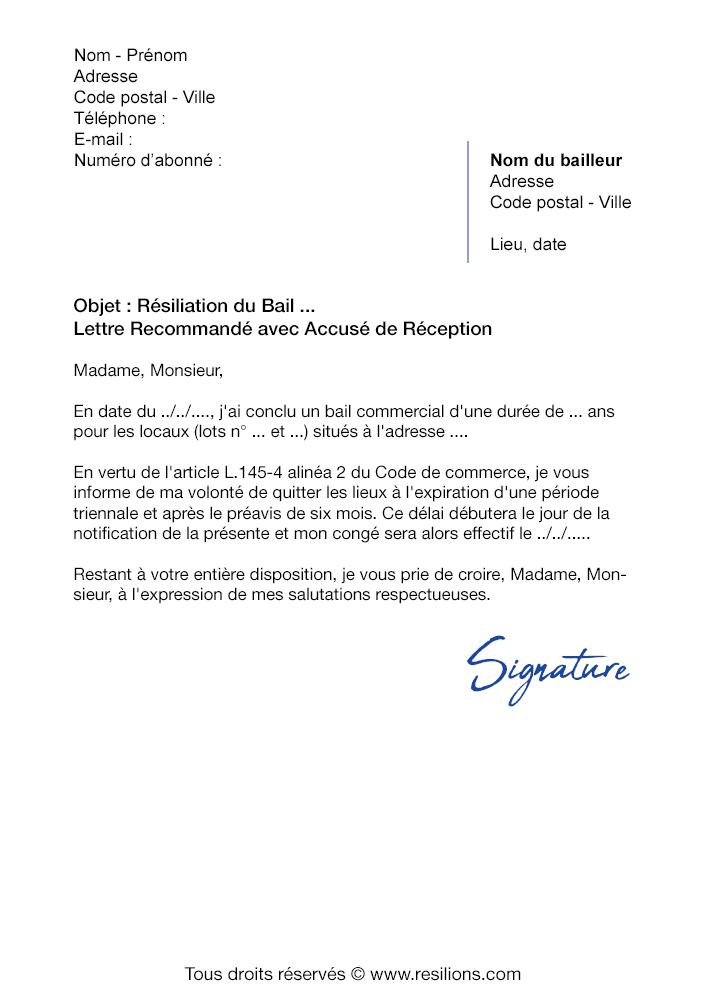 Lettre De Resiliation Bail Commercial Modele Gratuit Pdf Et Word