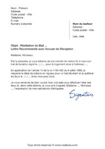 lettre de résiliation bail étudiant