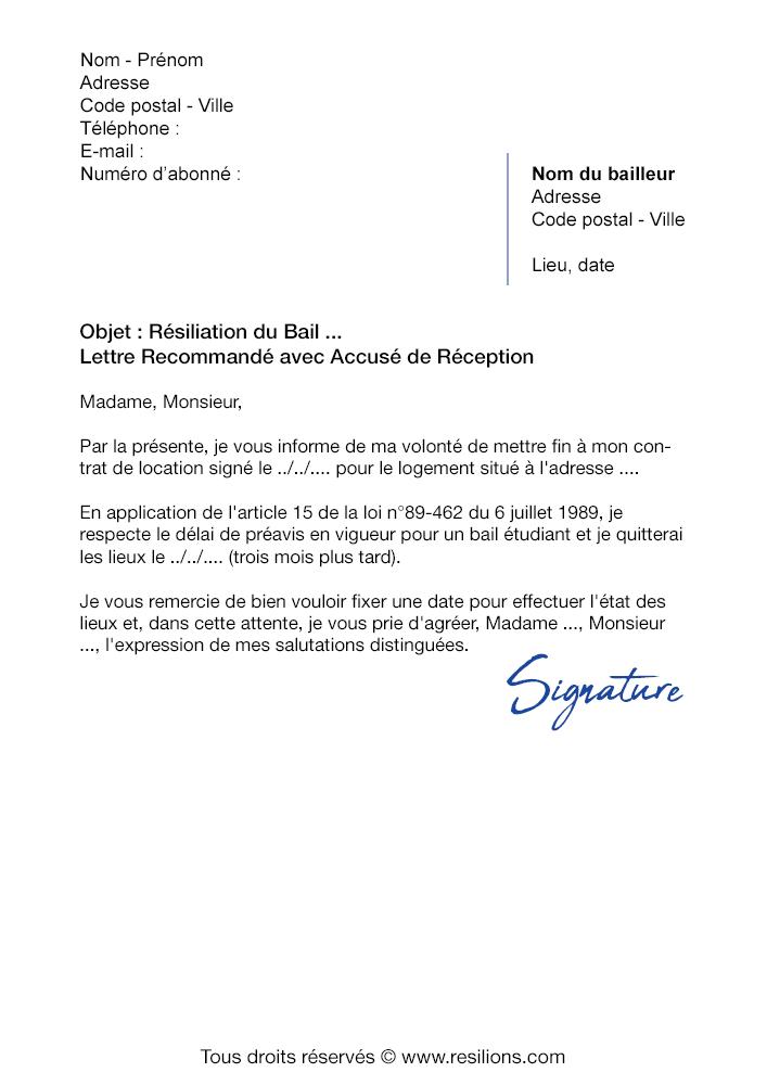 Lettre De Resiliation Bail Etudiant Modele Gratuit Pdf Et Word