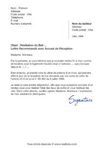 Resilier Le Bail D Un Logement Modeles De Lettre De Resiliation