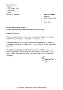 lettre de résiliation bail parking