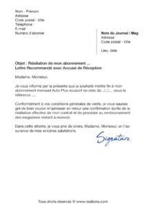 lettre de résiliation abonnement auto plus