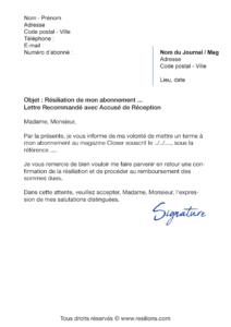 lettre de résiliation abonnement abonnement closer