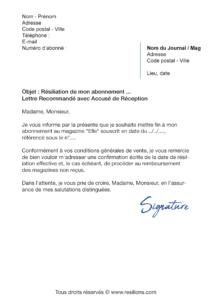 lettre de résiliation abonnement elle