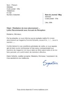 lettre de résiliation abonnement femme actuelle