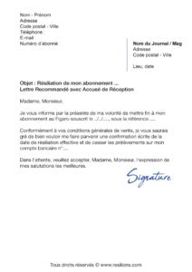lettre de résiliation abonnement le figaro