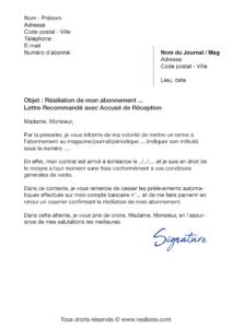 lettre de résiliation abonnement presse magazine