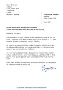lettre de résiliation abonnement dietbon