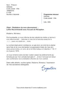 lettre de résiliation abonnement fitnext