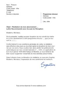lettre de résiliation abonnement kot
