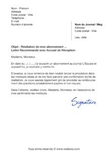 lettre de résiliation abonnement l'équipe
