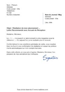 lettre de résiliation abonnement l'express