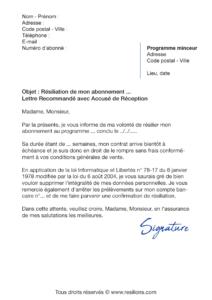 lettre de résiliation abonnement le coach minceur bio