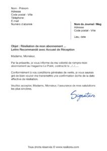 lettre de résiliation abonnement le point