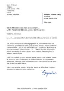 lettre de résiliation abonnement les échos
