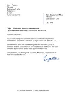 lettre de résiliation abonnement libération