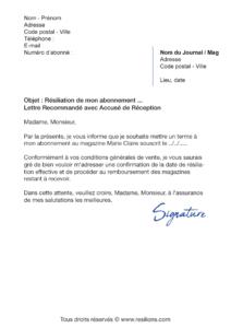 lettre de résiliation abonnement marie claire