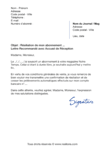 lettre de résiliation abonnement notre temps