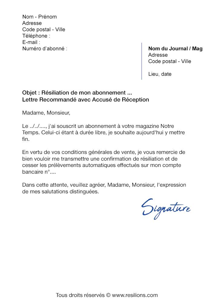Lettre de résiliation Abonnement Notre Temps - Modèle PDF et Word