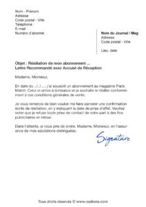 lettre de résiliation abonnement paris match