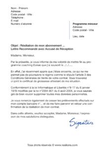 lettre de résiliation abonnement régime dukan