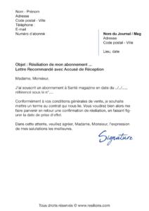 lettre de résiliation abonnement santé magazine