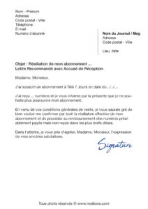 lettre de résiliation abonnement télé 7 jours