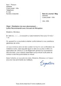 lettre de résiliation abonnement voici