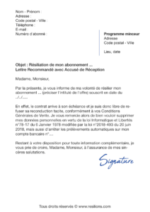 lettre de résiliation abonnement weight watchers