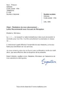 lettre de résiliation abonnement anacours