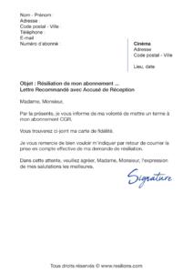 lettre de résiliation abonnement cgr cinéma