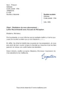 lettre de résiliation abonnement cours legendre