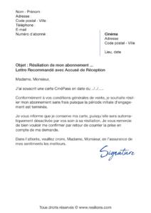 lettre de résiliation abonnement gaumont pathé carte cinépass