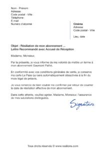 lettre de résiliation abonnement gaumont pathé carte le pass