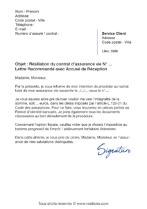 lettre de résiliation assurance vie cnp