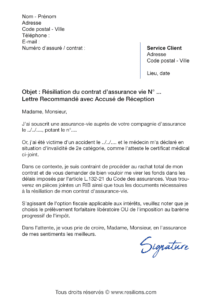 lettre de résiliation assurance vie gmpa