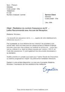 lettre de résiliation assurance vie lcl