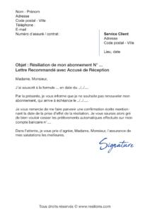 lettre de résiliation abonnement adopteunmec