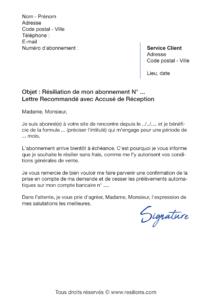 lettre de résiliation abonnement be coquin