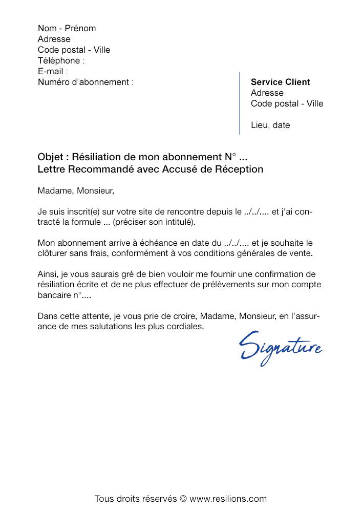 lettre de r siliation pour site de rencontre