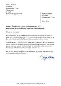 lettre de résiliation abonnement eliterencontre