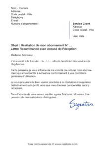 lettre de résiliation résiliation abonnement hugavenue